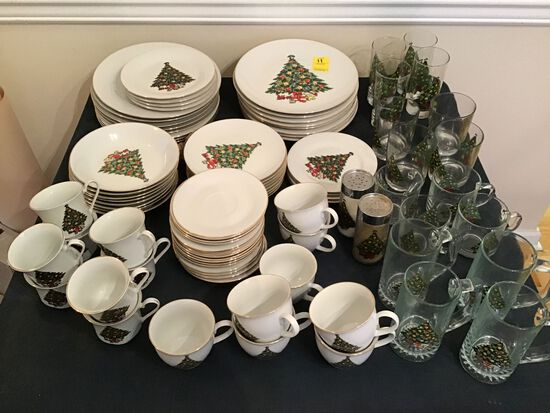 Large Group of Vintage Christmas China and Glassware