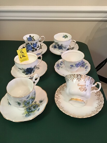 6 English Bone China Cups and Saucers