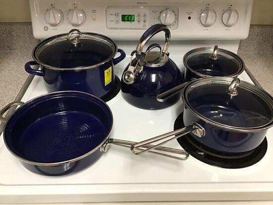 4 Pieces Chantal Cobalt Blue Cookware and Cobalt Blue Kitchen Aid Teapot
