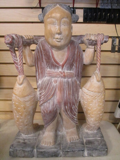 Carved Wood Female Figure Carrying Fish