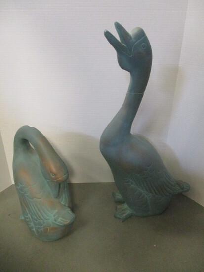 Pair Of Plaster Geese