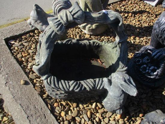 Concrete Basket With Rabbit