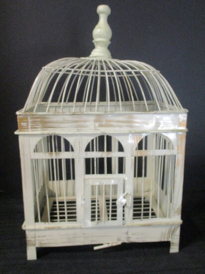 Decorative Metal Birdcage With Distressed Finish