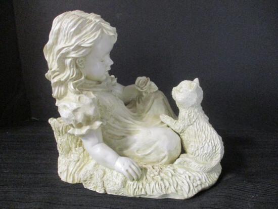 Resin Girl And Kitten Sculpture