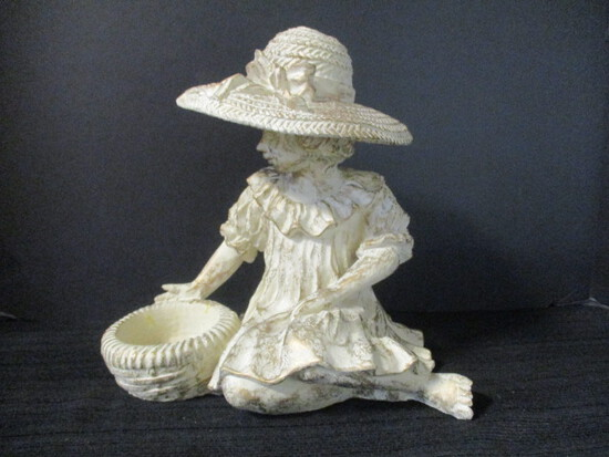 Resin Girl With Basket Sculpture