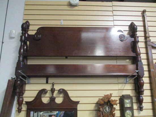 Genuine Mahogany Full Size Bed with Acorn Finials and Wood Rails