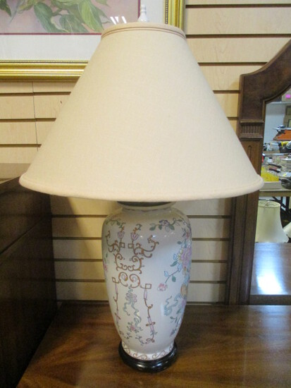Oriental Floral Vase Lamp with Wood Base