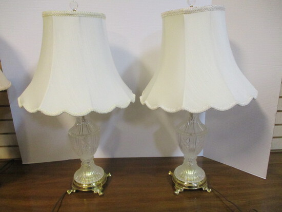 Pair of Glass Lamps with Brass Bases