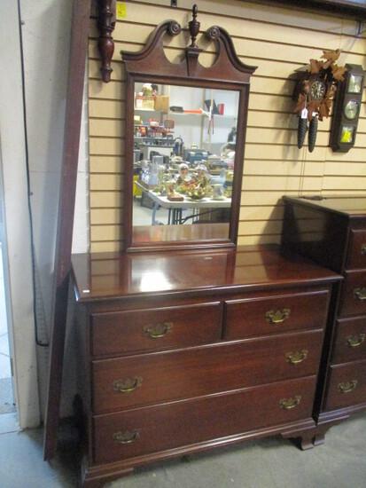 Genuine Mahogany 2 over 2 Dresser with Mirror