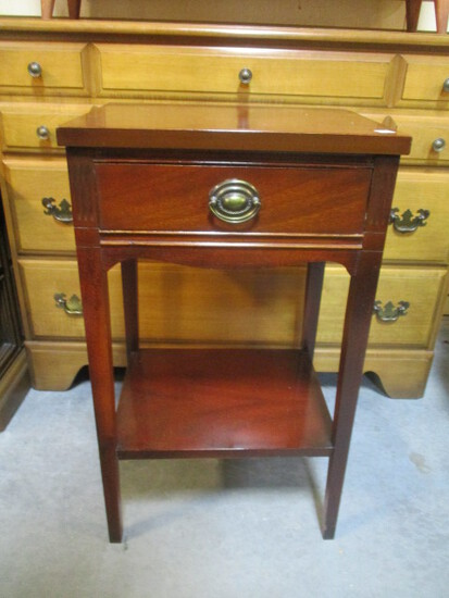 Mahogany Finish Table with Drawer and Undershelf