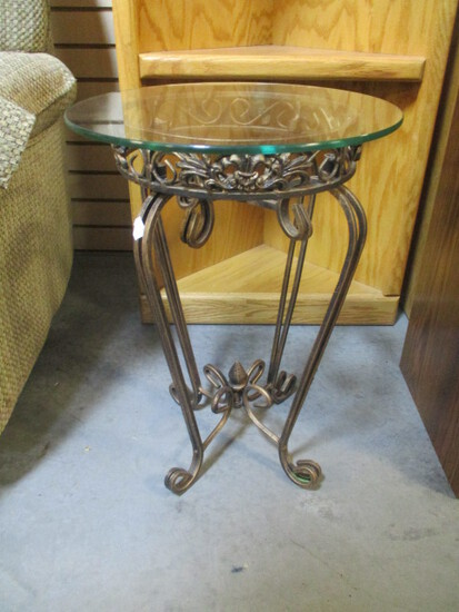 Round Folding Metal Table/Stand with Glass Top