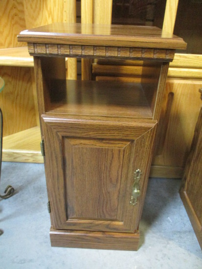 Wood Grain Finish Cabinet with Open Shelf and Door