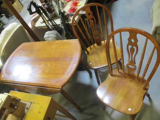 Oak Drop Leaf Breakfast Table with Two Side Chairs