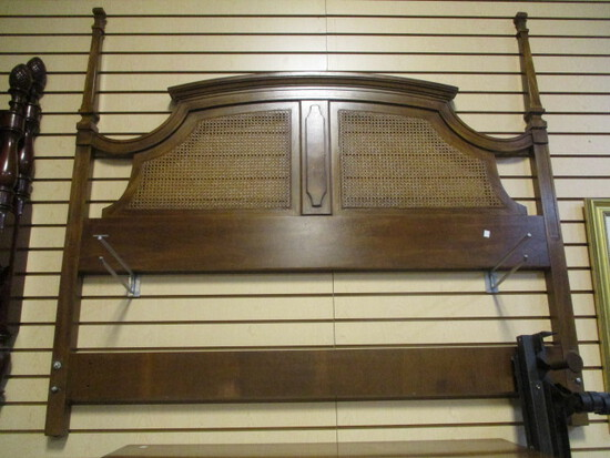 Full/Queen Size Drexel  Head Board with Caning Inserts and Metal Rails