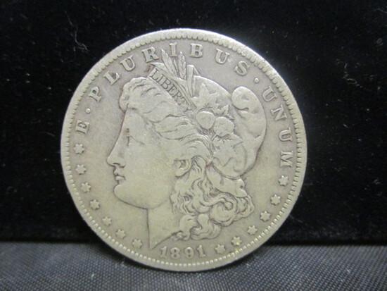 1891O Morgan Silver Dollar