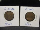 (2) 2 Cent pieces- 1864