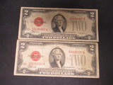 Lot of 2 $2 Red Seals- 1928E