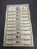 Lot of 10 $2 Red Seals- 1953