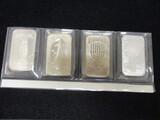 Lot of (4) 1 oz. .999 Pure Silver Bars