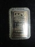 JM Assayers Refiners .999 Fine Silver 5 Gram Bar