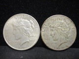 2 Peace Silver Dollars- 1924, 1925