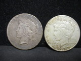 2 Peace Silver Dollars- 1927, 1935