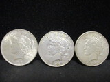 3 Peace Silver Dollars-1923, 1923D, 1923S