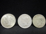 3 Peace Silver Dollars-1922, 1922D, 1922S