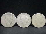 3 Peace Silver Dollars- 1922, 1922D, 1926S