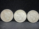 3 Peace Silver Dollars- 1923, 1923D, 1923S
