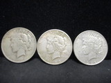 3 Peace Silver Dollars- 1923, 1923S, 1922D