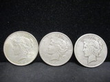 3 Peace Silver Dollars-1923, 1923S, 1922D