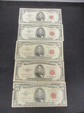 Lot of (5) 1963 $5 Red Seals