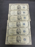 Lot of (6) 1953 $5 Blue Seals
