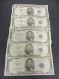 Lot of (5) 1953 $5 Blue Seals
