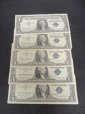 Lot of (5) 1957 $1 Silver Certificate Blue Seals