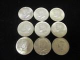 Lot of (9) 1964 Kennedy Half Dollars