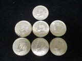 Lot of (7) 1968D Kennedy Silver Clad Half Dollars