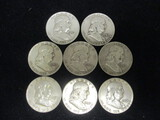 Lot of (3) 1957 & (5) 1957D Franklin Half Dollars