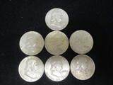 Lot of (7) 1962D Franklin Half Dollars
