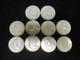 Lot of (10) 1963 Franklin Half Dollars
