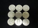 Lot of (9) 1963 Franklin Half Dollars