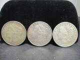 3 Morgan Silver Dollars- 1921, 1921D, 1921S