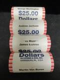 (4) $25 Rolls of UNC. Presidental Dollar Coins