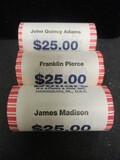 (3) $25 Rolls of UNC. Presidental Dollar Coins