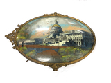 Nice Antique Reverse Painting of US Capitol Building on Dome Glass & Brass