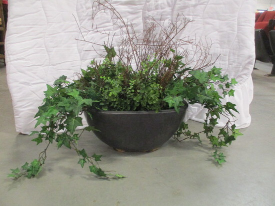 Glazed Pottery Center Piece with Artificial Greenery