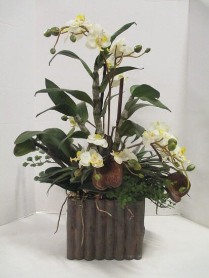 Artificial Orchid Arrangement in Faux Bamboo Planter