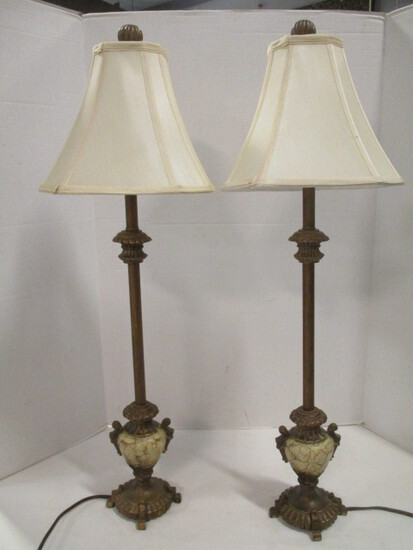 Pair of Candle Stick Buffet Lamps with Cream Shades