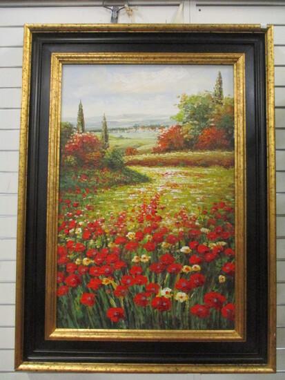 Framed Poppy Field Canvas Designer Artwork